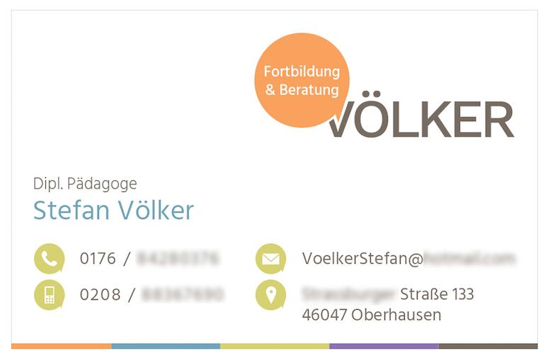 Visitenkarten-Gestaltung der Online-Genies für Fortbildung & Beratung Völker.